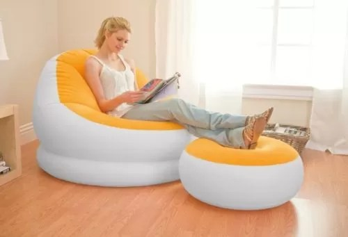Intex Inflatable Cafe Chaise Lounge Chair and Ottoman