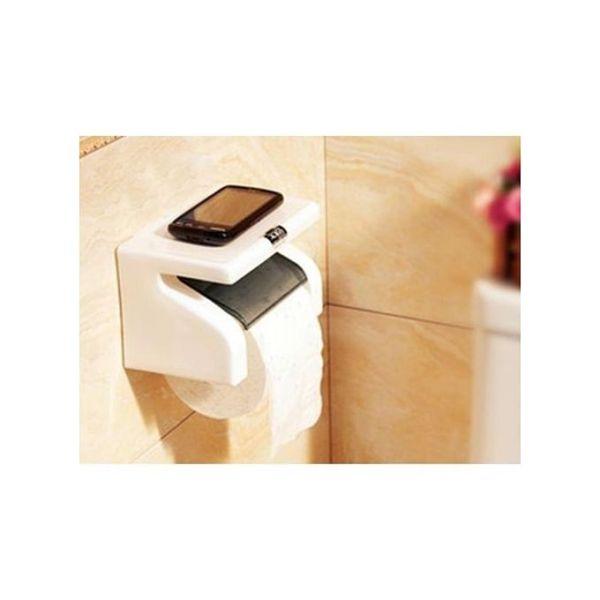 White Classy Tissue Holder With Phone Holder