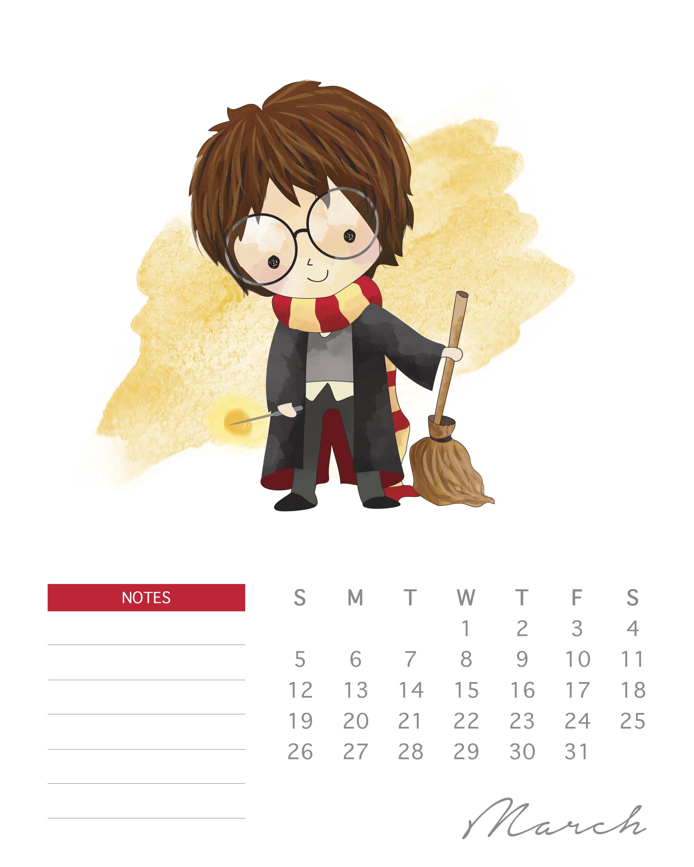 Free Printable 2017 Harry Potter Calendar The Cottage Market