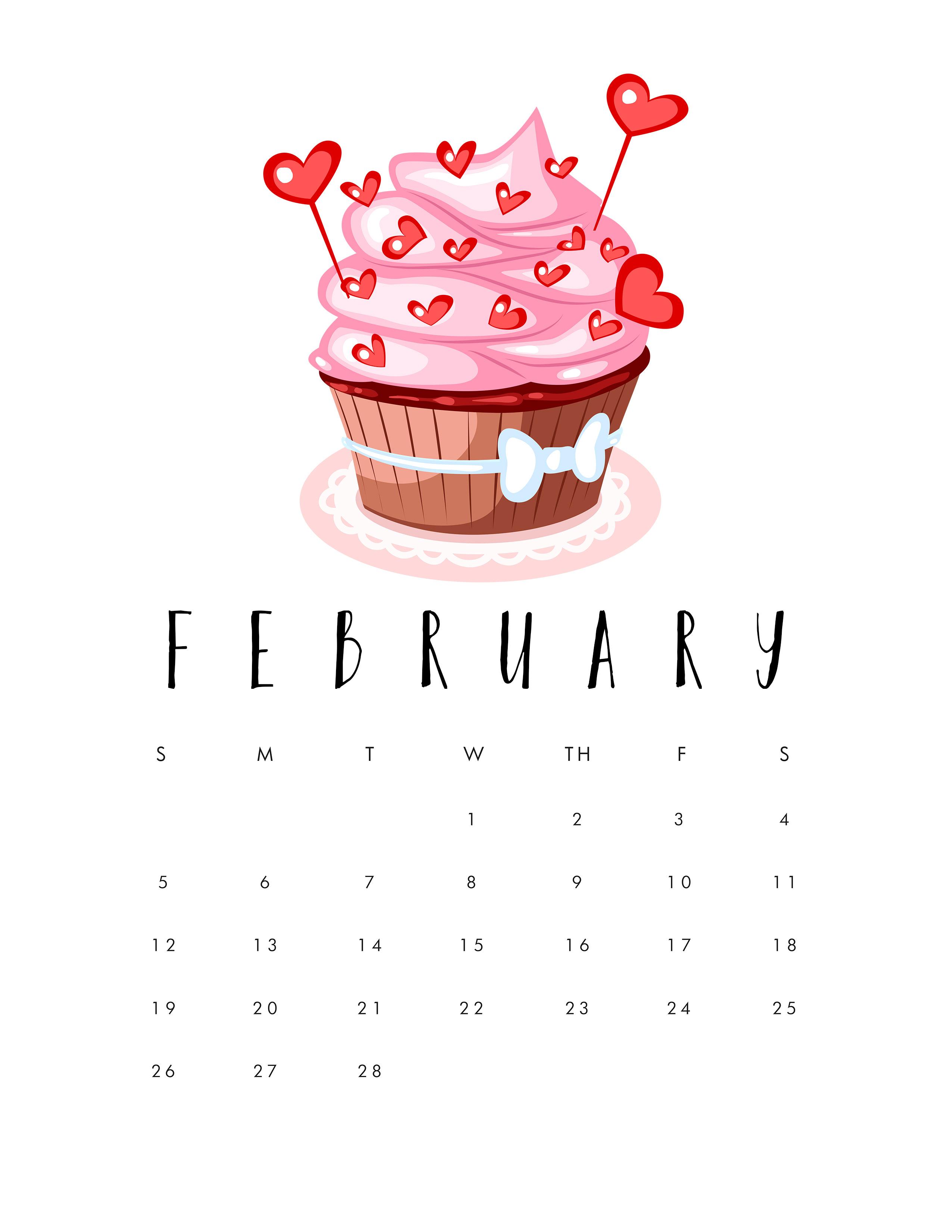 Free Printable Cupcake Calendar