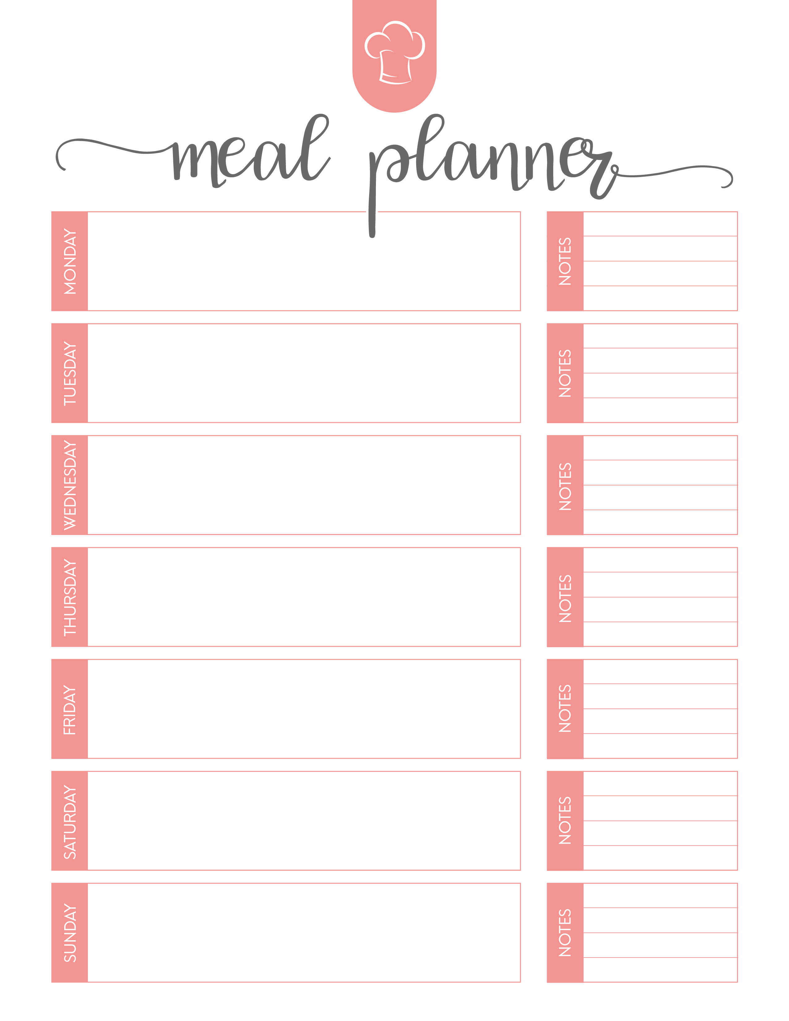 Free Printable Meal Planner Set