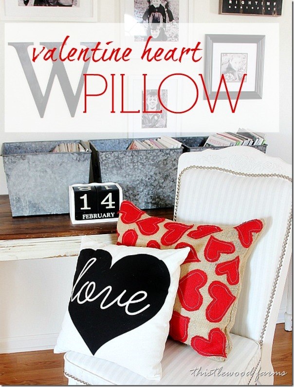 This valentine's day heart throw pillow made with burlap and felt is an adorable accent piece