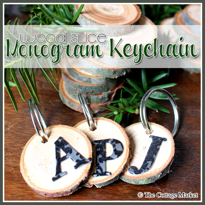 Wood Slice Monogram Keychain and Tags A QUICK 5 minute craft