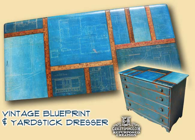 This amazing thrift store DIY project looks stunning - an old dresser with vintage blueprint finish