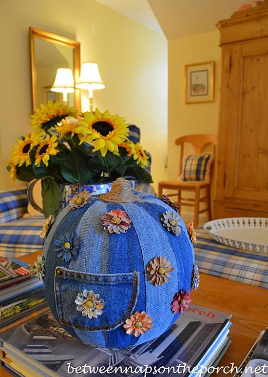 Decoupage-a-Craft-Pumpkin-with-Denim-Fabric