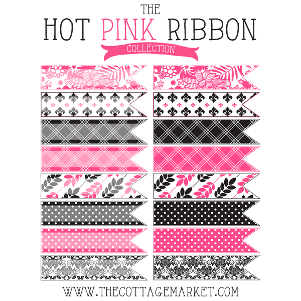 Free Hot Pink And Toile Digital Ribbons (The Gate House Collection)