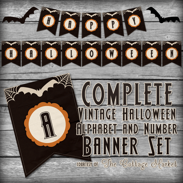 Free Halloween Printable Banner Complete Alphabet and Number Set