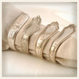 These sterling silver silverware were transformed into classy napkin rings