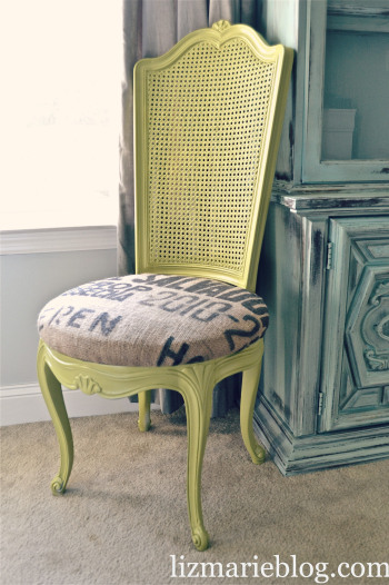 An old chair can be brought back to life with some bright lime green paint and bold fabric for the seat cushion.
