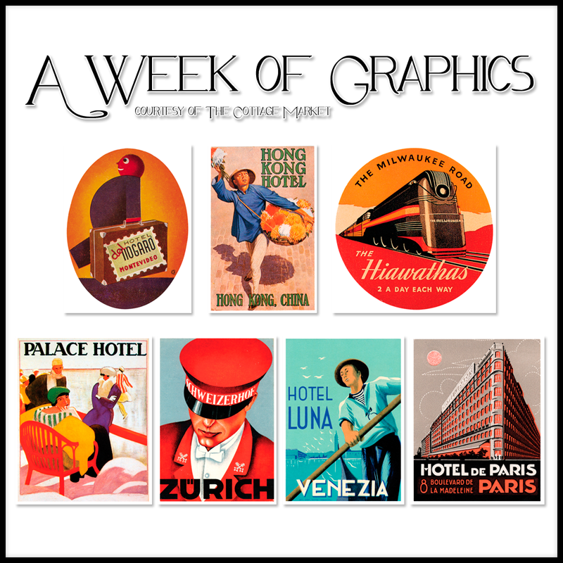 Free Graphics of the Week Vintage Travel Stickers