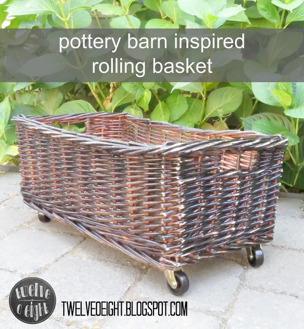 pottery barn inspired rolling basket