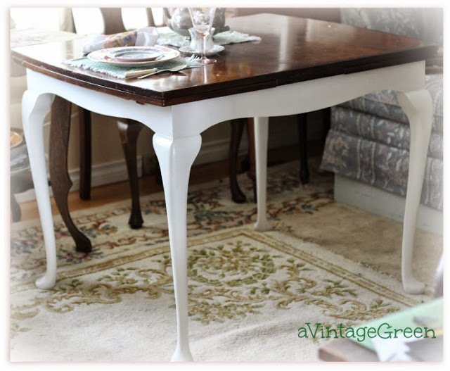 table with painted white legs