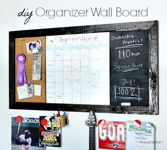 This DIY wall organizer board is a perfect piece for a family command center