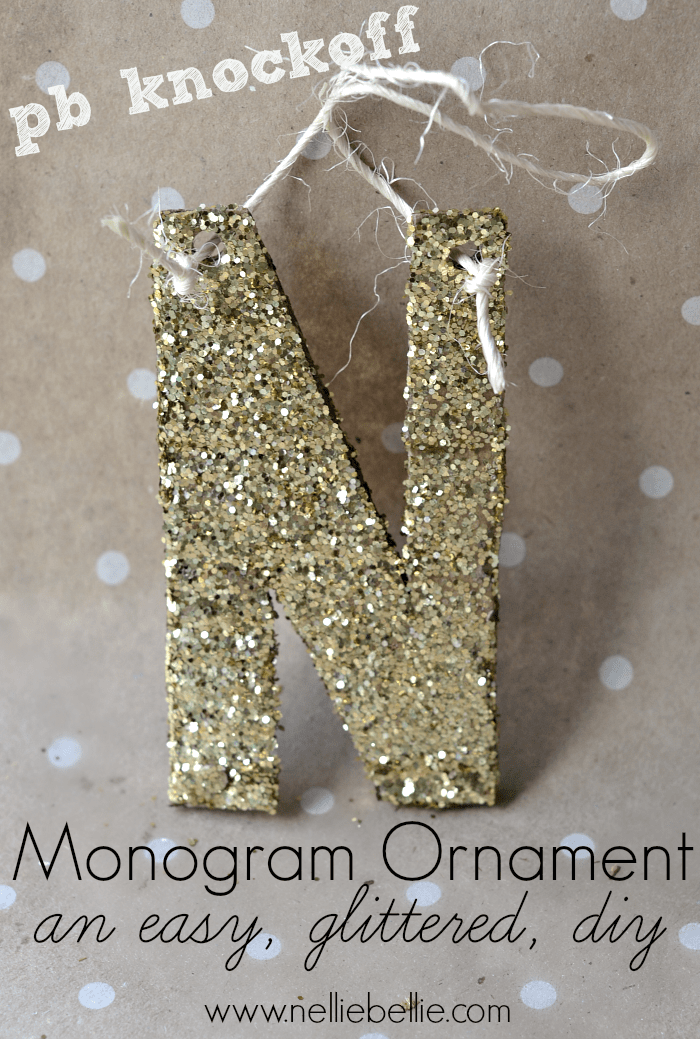 This glitter monogram ornament is an easy DIY that looks just as good as a real pottery barn accessory