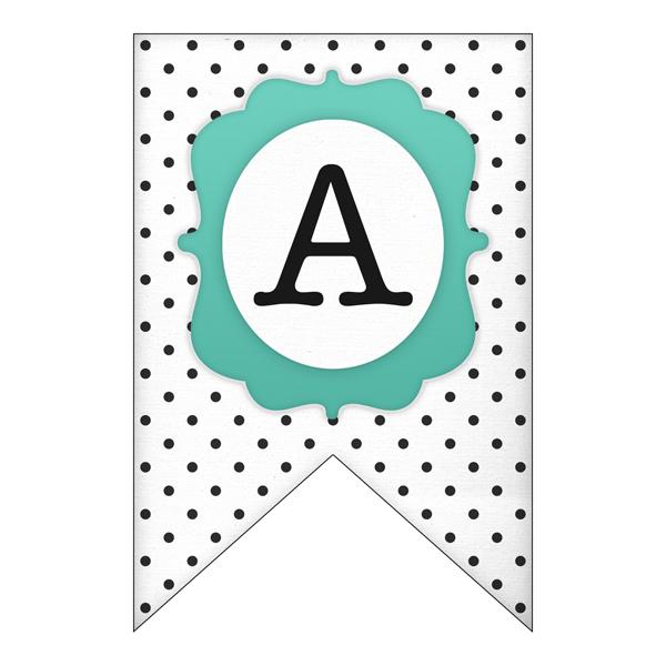 This printable polka dot banner letter is whimsical.