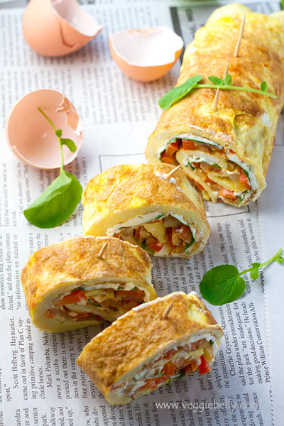 Veggie Belly...Omelette Rollups or Roulade with Smoky Fried Potatoes, Cream Cheese and Watercress