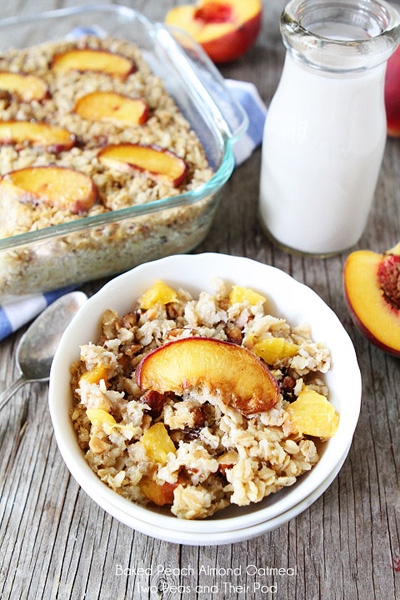 Two Peas and Their Pod...Baked Peach Almond Oatmeal