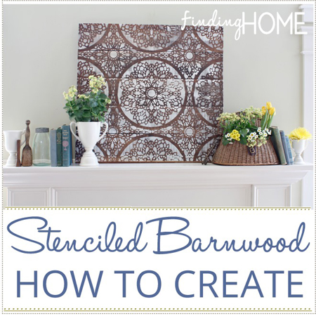 Finding Home made a stenciled barn wood tutorial for some pallet wall art that will look amazing on a mantel