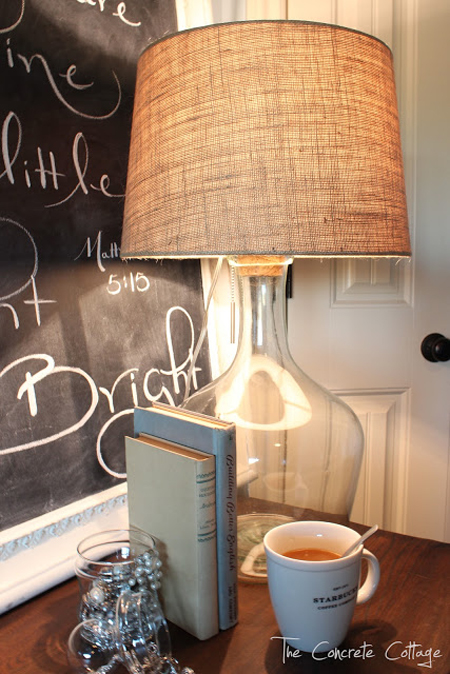 The Concrete Cottage...Glass Bottle Lamp DIY