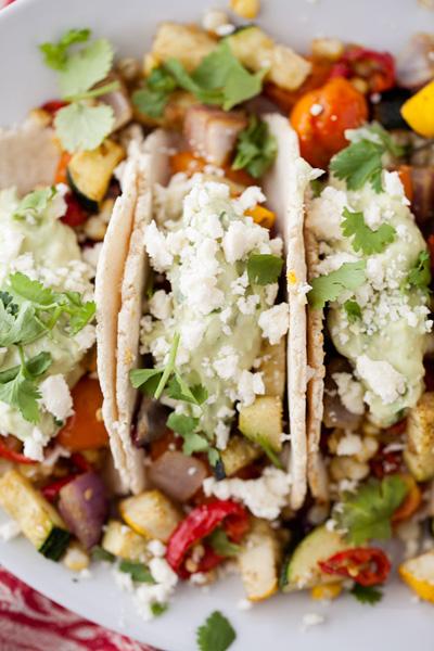 Natural Ella...Roasted Veg Tacos with Avocado Cream & Feta