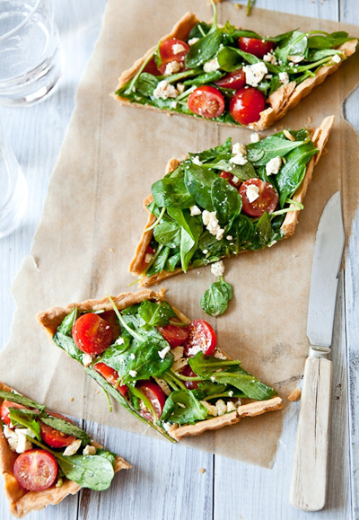 Tartlette...Savory Greens, Tomatoes & Goat Cheese Tarts