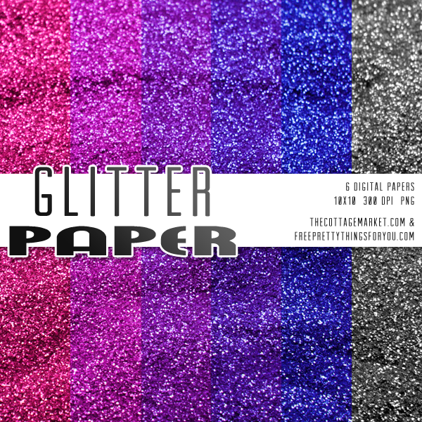 Party Colors Glitter Scrapbooking Paper Pack
