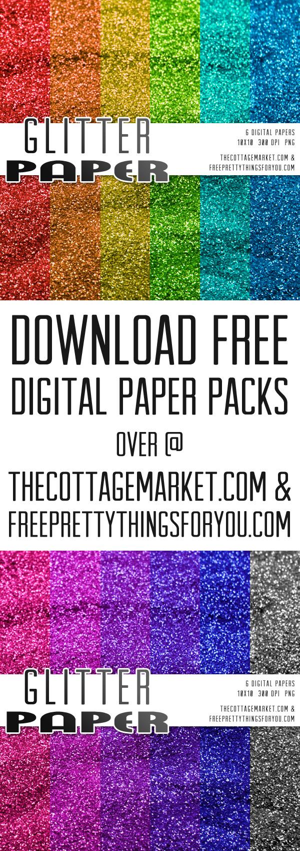 Free Digital Glitter Scrapbooking Paper Packs