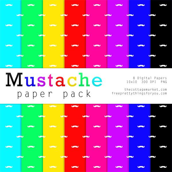 Free Mustache Digital Paper Pack