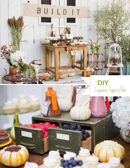 This build your own cupcake bar from Green Wedding Shoes is perfect for a graduation party