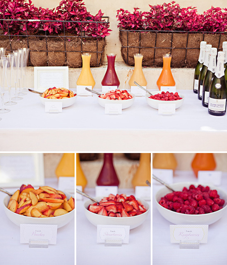 Let the college graduate celebrate with this build your own mimosa bar! Different fruit juices and cut up fruit like peaches, strawberries and raspberries mixed with champagne is a perfect way to start a party