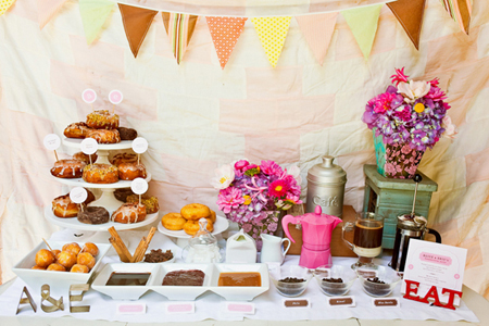 This donut and coffee bar is a cute party food idea if your party is a bit earlier in the day! Idea is from Divine Party Concepts