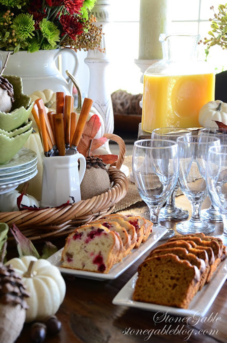A breakfast bar is a welcoming site at any party. Delicious breads, muffins, fruit, and fun breakfast drinks make a continental breakfast spread