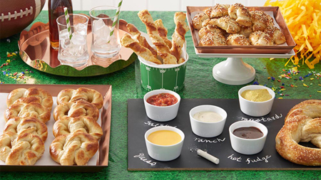 Mix graduation and game day with this pretzel bar. Homemade soft pretzels with delicious dips