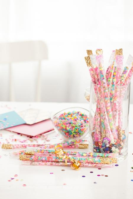 DIY confetti sticks are the perfect addition to celebrating a graduation party