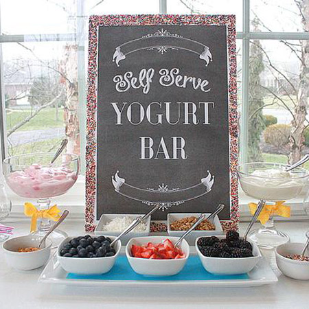 This self serve yogurt bar is a healthy graduation party food idea from Hostess with the Mostess