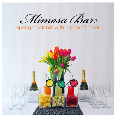 A mimosa bar is a fun way to add color and fun flavors to your party