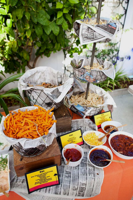 A french fry bar might be the most creative party food idea I've ever seen! Different kinds of french fries with a variety of dipping options