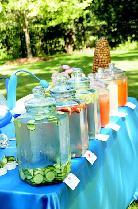 An outdoor graduation party on a hot summer day is the perfect place for this infused water bar with a selection of delicious infused water choices