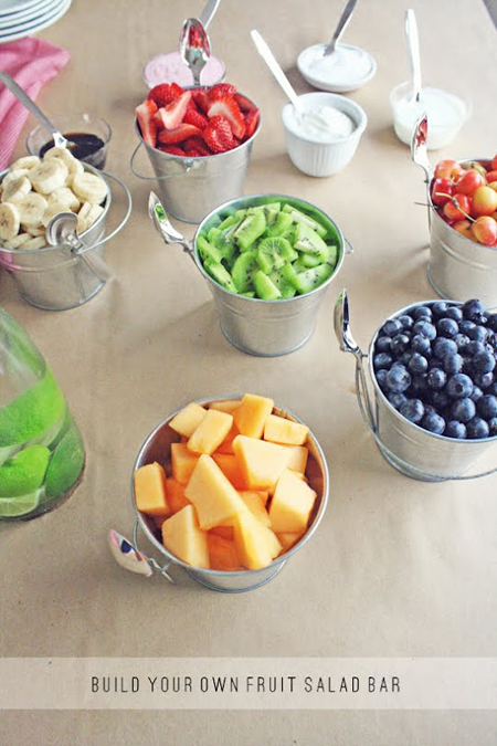 This build your own fruit salad bar is a great addition to any graduation party. The idea comes from Love Taza