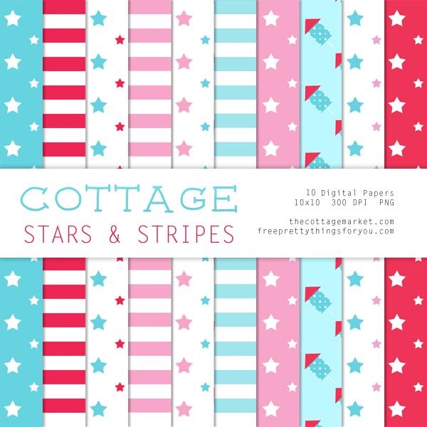 Free Digital Scrapbooking Cottage Stars & Stripes Digital Paper Pack