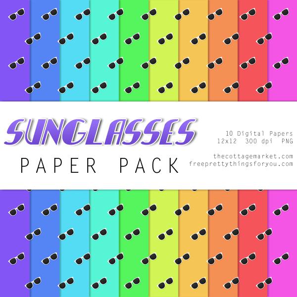 FREE Sunglasses Digital Scrapbooking Paper Pack