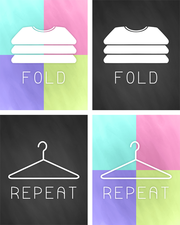 These fold and repeat printables make great wall decor for a laundry room.