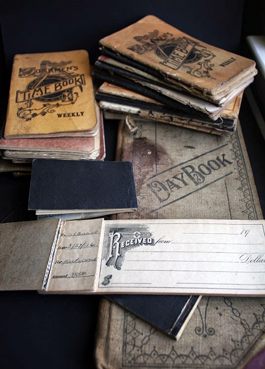 antique time book day book deposit slips