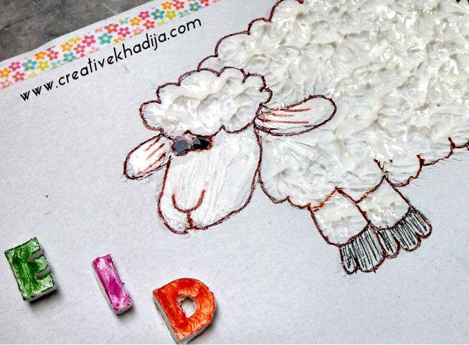 eid-card-crafts-sheep-collage-clay