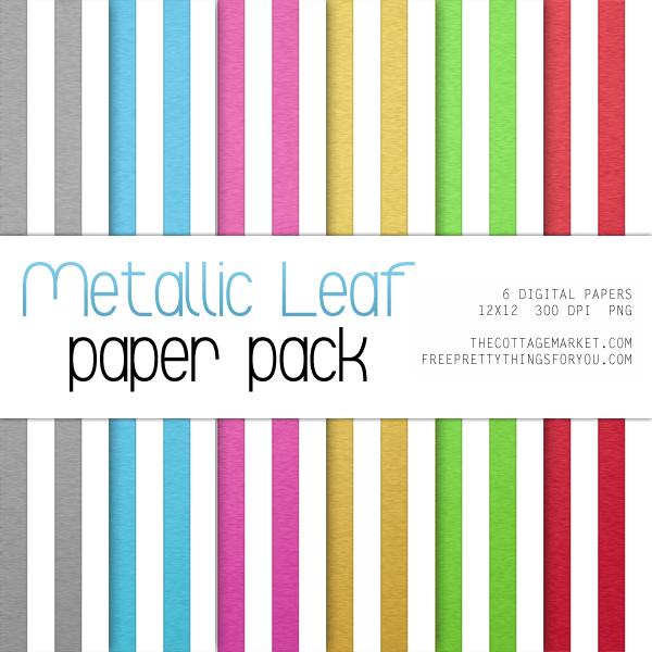 Free Digital Scrapbooking Paper featuring Metallic Leaf Stripes & Dots
