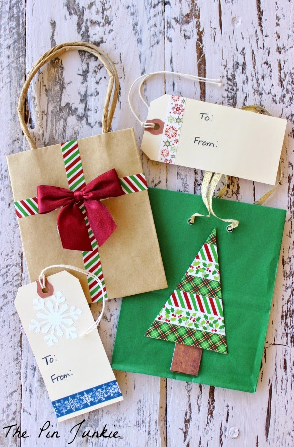 dollar store craft washi tape gift bags and tags