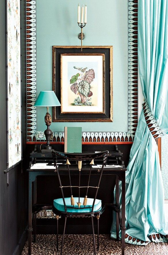 This little corner study uses touches of aqua and stunning fabric to make a statement