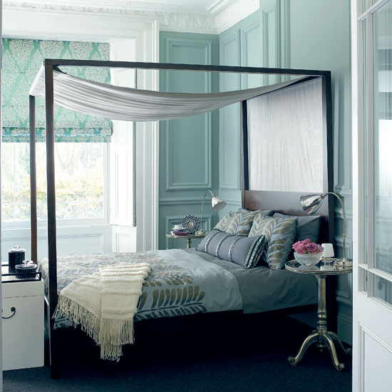 this aqua bedroom is subtle and bright - a perfect way to use this bold color