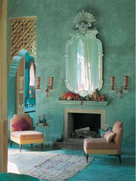 THis dramatic and stunning room has a gorgeous detailed aqua wall with accents of deep red and ogld