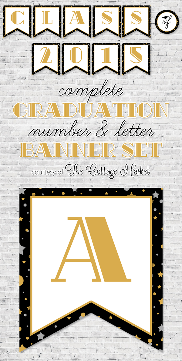 Use this free printable number and letter banner set for your next grad's party.